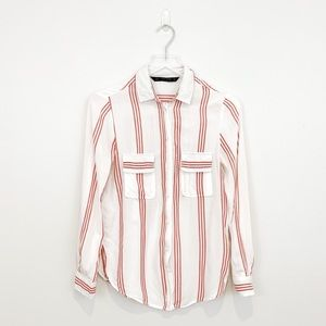 Zara Red and White Stripped Button Down Shirt